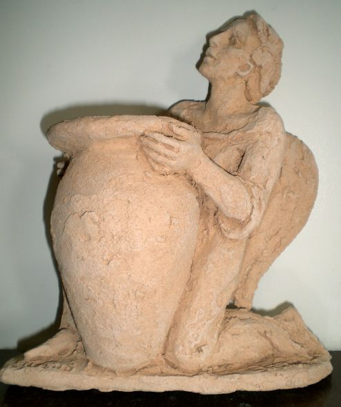 Angelo in terracotta porta fiori